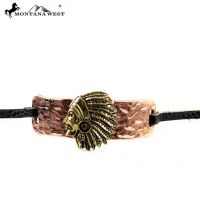 COP Indian Head With leather Cord Bracelet BR160101-01COP