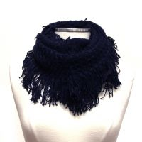 Soft Knit Infinity Scarf With Fringe