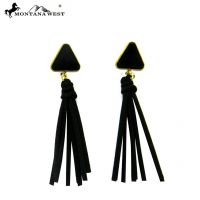 MW Triangle Velvet Earring With Suede Tassel  ER160513-01L