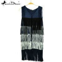 Montana West Suede-Like Fringe Long Vest-Navy