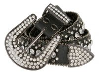 Women's Western Rhinestone studded Leather Belt - Black