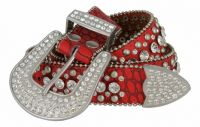 "Women's Western Rhinestone Studded Leather Belt 1-1/2"" Wide -Red"