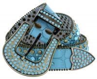 Women's Western rhinestone studded Leather Belt - Teal