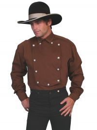 Wahmaker Brushed Twill Cotton Bib Shirt - Brown