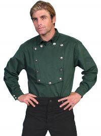 Wahmaker Brushed Twill Cotton Bib Shirt - Hunter Green