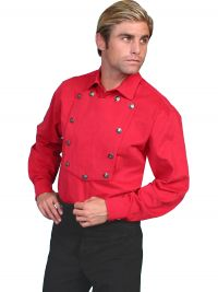 Wahmaker Brushed Twill Cotton Bib Shirt - Red