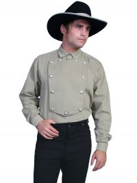 Wahmaker Brushed Twill Cotton Bib Shirt - Tan