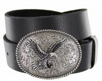 Silver American Eagle Full Grain Leather Casual Western Belt by Diamond V Texas Star