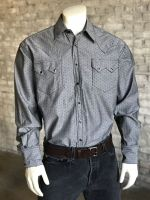 Men's Chambray Dobby Black Western Shirt 6300-BLK by Rockmount Ranch Wear