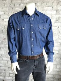 Men's Classic Stonewash Denim Sawtooth Western Shirt 640-DS by Rockmount Ranch Wear
