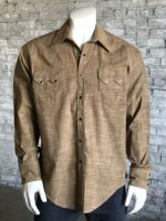 Men's Vintage Cross Hatch Chambray Western Shirt 6400-BRN by Rockmount Ranch Wear