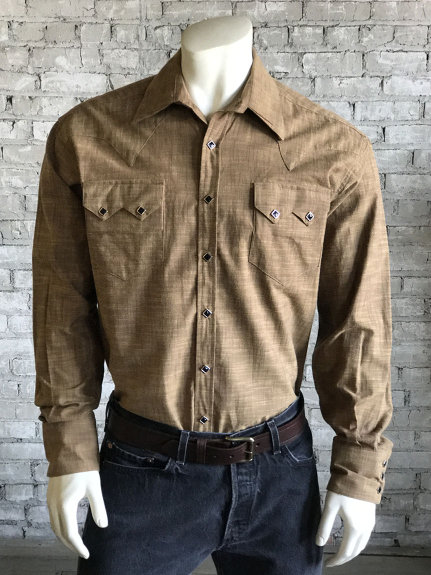b11dc379c6e ... Men s Vintage Cross Hatch Chambray Western Shirt 6400-BRN by Rockmount  Ranch Wear ...