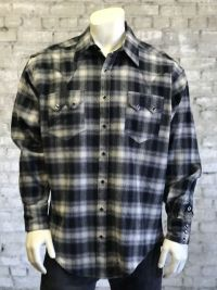 Men's Plush Flannel Plaid Western Shirt 647-BLK by Rockmount Ranch Wear
