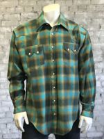 Men's Plush Flannel Plaid Western Shirt 647-GRN/TUR by Rockmount Ranch Wear
