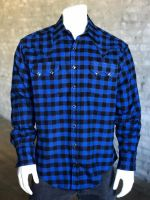 Blue Plush Flannel Buffalo Check Western Shirt
