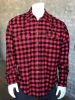 Red Plush Flannel Buffalo Check Western Shirt