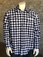 White Plush Flannel Buffalo Check Western Shirt