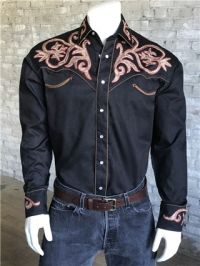 Tooled Embroidery Cotton Gab Western Shirt 6715 by Rockmount Ranch Wear