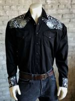 Men's Vintage 2 Tone Embroidered Western Shirt - 6737-BLK by Rockmount Ranch Wear
