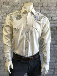 Men's Vintage 2 Tone Embroidered Western Shirt - 6737-IVO by Rockmount Ranch Wear
