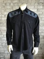 "Vintage Black Crossroads Fine ""X"" Stitch Embroidered Western Shirt 6743-BLK by Rockmount Ranch Wear"