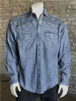 "Vintage Denim Crossroads Fine ""X"" Stitch Embroidered Western Shirt 6743-DEN by Rockmount Ranch Wear"