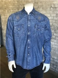 Men's Floral Denim Embroidery Vintage Western Shirt