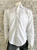 Men's White-On-White Vintage Tooling Embroidered Western Shirt