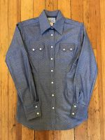 Women's Chambray Dobby Blue Western Shirt 7300-BLUE by Rockmount Ranch Wear