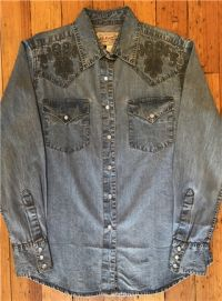 Women's Floral Extra Fine Pinpoint Embroidery Vintage Western Shirt 7809 by Rockmount Ranch Wear