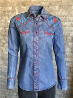 Women's Vintage Denim Native Embroidered Western Shirt by Rockmount Ranchwear