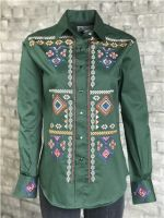 Women's Green Diamond Embroidered Shirt by Rockmount Ranchwear