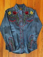 Women's Floral Embroidered Vintage Denim Western Shirt 7857 by Rockmount Ranch Wear