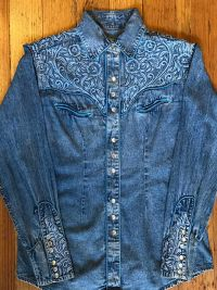 Women's Floral Embroidered Vintage Denim Western Shirt 7859 by Rockmount Ranch Wear