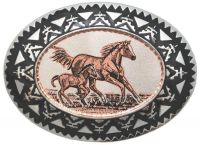 Copper Horses And Colt Belt Buckle