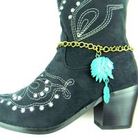 Indian Head With Feather Charm Boot Chain BOT150101-07