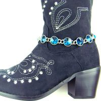 AQUA Rhinestones Linked Boot Chain BOT150103-01
