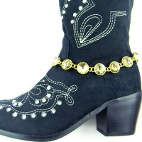 GD/CHPNRhinestones Linked Boot Chain BOT150103-01GD