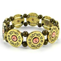 Brass 12 Gauge Bullet Stretch bracelet
