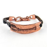 "COP ""Follow Your Heart"" Arrow head Plate Leather Bracelet"