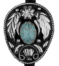 German Silver and Turquoise Bolo Tie