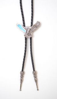 Spread Eagle with Turquoise Wing Bolo Tie Made in the USA