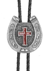 Horseshoe Cross Bolo Tie Red Enamel Made in the USA