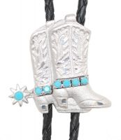 Silver Boots Bolo Tie Bright Cut Turquoise Stones Made in the USA