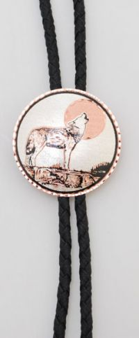Copper Howling Wolf and Moon Round Bolo Tie