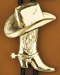 Gold Hat and Boot Bolo Tie Made in the USA
