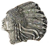 Indian Head Belt Buckle Diamond Cut Made in USA