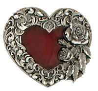 Red Enameled Heart Buckle Made in USA