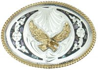 Abalone and German Silver Eagle Belt Buckle