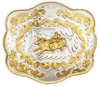 Extra Large German Silver  Bullrider Belt Buckle